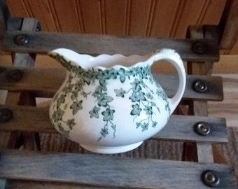 Crown Docol English green transferware creamer--pattern Early English Ivy