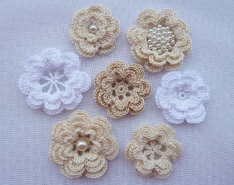 7pcs crochet flowers/flowers for headband/flowers for sewing/flowers for scrapbooking.Vintage Flowers