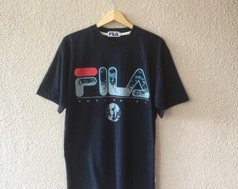 Vintage 90s FILA Worldwide Big Logo AT-shirts / sz Medium / Hip Hop / Skateboard