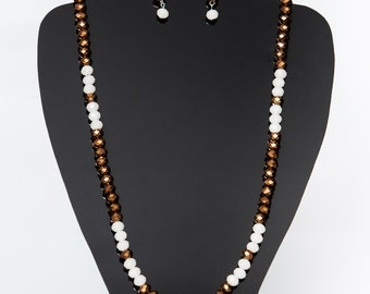 Bronze and white beaded necklace