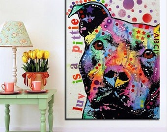 Pit Bull Art - Luv is a Pittie Painting - Pit Bull Canvas Painting- FREE Shipping