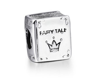 Fairy Tale Book Charm, 925 Sterling Silver Plated Jewelry, Story Book Fantacy Charm Bracelet Bead