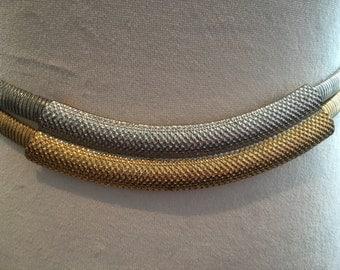 Vintage Double Serpentine Gold & Silver Stretch Belt
