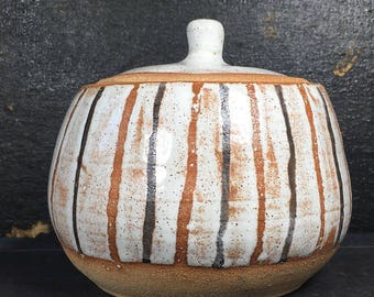 Striped Jar, 16 oz, Handmade ceramic dish