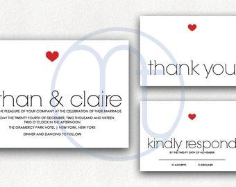 Printable, Customized, Simple Invitation, Minimalist Wedding Invitation, Red Heart, Simple RSVP, Simple Thank You Digital Invitation,