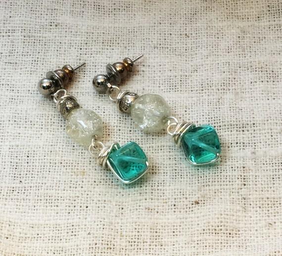 Crystal earrings, beaded earrings, aqua earrings, turquoise earrings, boho earrings, blue earrings, blue green earrings, ocean earrings
