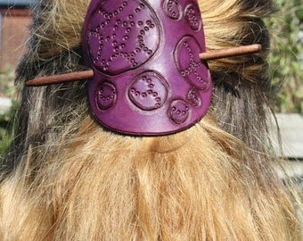 Tooled and stamped purple leather hair barrette/purple leather hair slide/purple leather hair clip