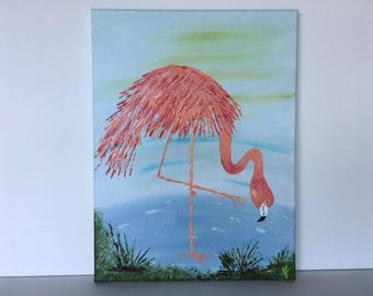 "Flamingo - wall decor acrylic painting 12""x16"" canvas stretched/wrapped on 5/8"" bars"
