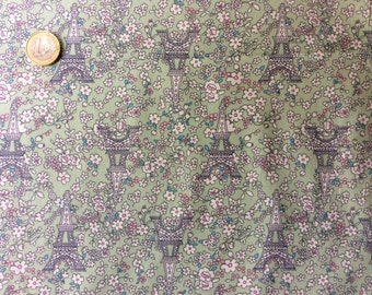 High quality cotton poplin dyed in Japan with Eiffel tower print