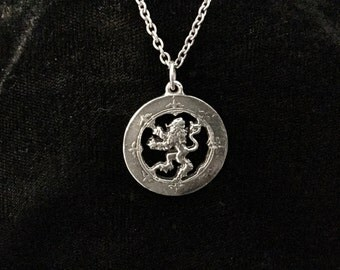 Handcast 925 Sterling Silver Scottish Lion Rampant Pendant + Free Chain