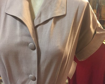 Snappy lavender/grey 1940s casual dress