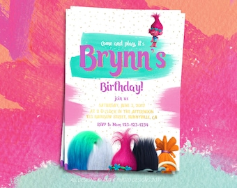 Trolls Digital Invitation, Trolls Instant Download Invitation, Trolls Printable Invitation, Trolls Birthday Invitation