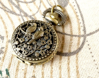 Pocket watch birds vintage style jewellery supplies