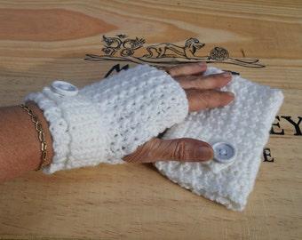 Fingerless gloves, Crochet mittens, Crochet Winter gloves, White Mittens, Christmas gift