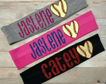 Softball headband,  cotton sports headbands,  softball bow, you pick colors, softball hairbow,  softball bow