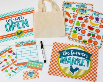 Pretend Play Farmers Market. Pretend Play Kit. Pretend Play. Dramatic Play. Gifts for Kids. Kids Play Menu. Kids Activity. Early Childhood