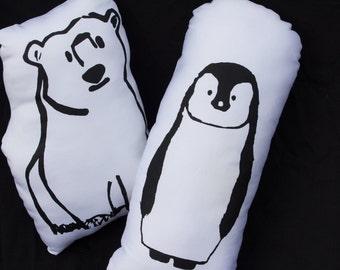 black and white polar bear kids throw pillow