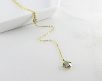 14k Gold Plated Y Necklace with Glass Stone Pendant