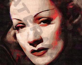 Marlene Dietrich Art Print - Oil Painting Poster  LFF0115