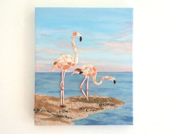 Pink Flamingos in Seashell Mosaic on Sand