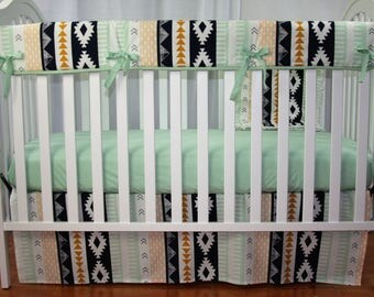 Crib Bedding Set- Arid Horizon In Mint 3 Piece Set