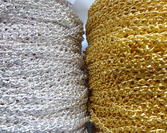 2 Meter Nickel Free Strong Curb Twist Trace Chain for Necklace 4mm x 3mm - Bright Silver / Gold Plated