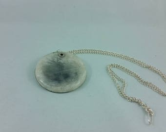 Necklace: Cloudfeather; white + grey resin feather pendant, double-sided, on silvery chain.