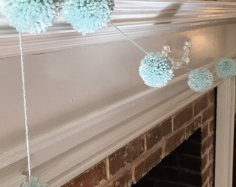Blue Pom-Pom Garland.  Baby shower decorations.  Wedding shower decorations.  Nursery decor