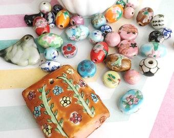 Mixed Beads | Floral Ceramic Beads | Mixed Ceramic Bead Lot | Ceramic Beads | Hand Painted Ceramic Bead | Assorted Ceramic Beads | 8 Pieces