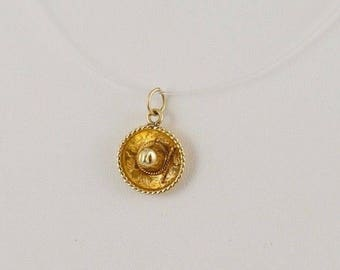 14k Yellow Gold Figural 3D Mexican Sombrero Hat Taco Tuesday Charm/Pendant