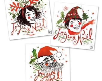 Christmas, 3 postcards