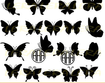 60 % OFF, Butterfly SVG, Butterfly Monogram Frames, Silhouette Digital Clipart, Silhouette Vinyl Cutting file, dxf, svg, dxf, ai, eps, png