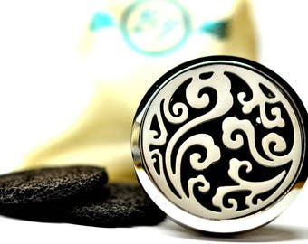 Essential Oil Car Diffuser Accessory // Ocean Swirl Stainless Steel 38MM // With 3 Lava Stone Diffusers / & Choice of 2ML Essential Oil
