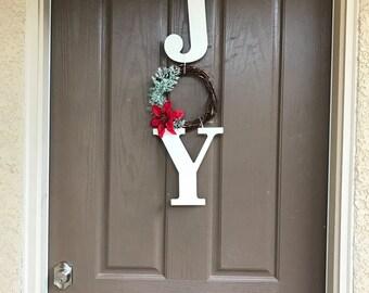 Christmas Joy wreath with poinsetta