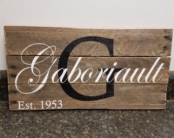 Custom Name Wood Sign, Wedding Gift Sign, Pallet Last Name Sign, Personalized Wood Sign, , Established Date Family Sign