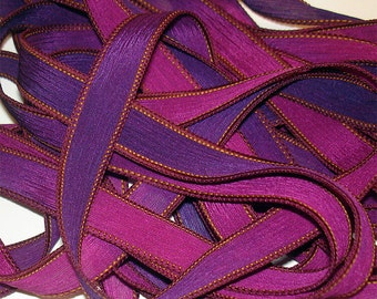 """1PC. GRACE 42"""" hand dyed wrist wrap bracelet silk ribbon//Yoga wrist wrap bracelet ribbons//Hand dyed Boho Silk wrist wrap ribbon"""