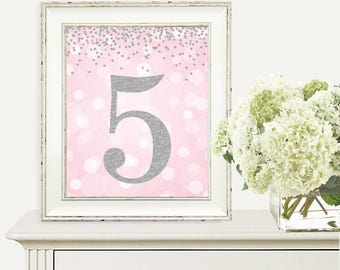 Printable Party Decorations, Number 5, 5th Birthday Party, Fifth Birthday, Pink and Silver Glitter, Digital Print, 2nd Birthday Party Sign