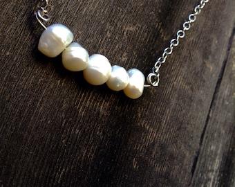 Five Pearl Line Necklace dew drop freashwater pearl silver