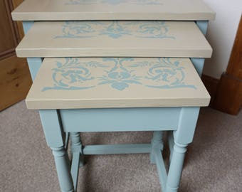 Vintage Nest of Tables Duck Egg Grey Damask Shabby Chic