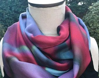 Silk Scarf- Red, Black, Gray Swirls