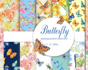 seamless patterns  watercolor butterflies and flowers digital paper,watercolor painting ,digital seamless patterns,,scrapbooking, background