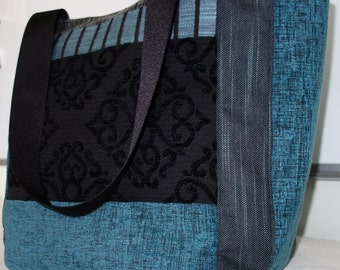 chic blue and black tote bag