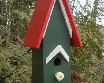 Red Roof Birdhouse, Wooden Birdhouse, Painted Birdhouse, Outdoor Birdhouse, Unique Birdhouse, Bird House