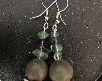 Fluorite, Jasper and Seashell earrings :)