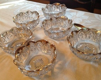 Vintage Clear Gold Rimmed Heavy Depressed Glass Berry Bowls Set of 6
