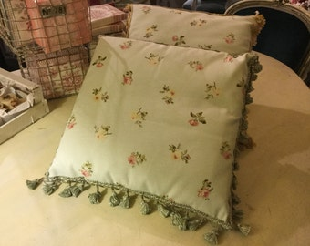 Floral patterned cushions