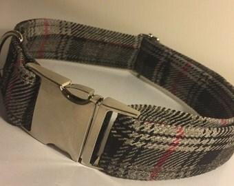 Tweed Dog Collar, Dog Collar, Handmade Tweed Adjustable Dog Collar