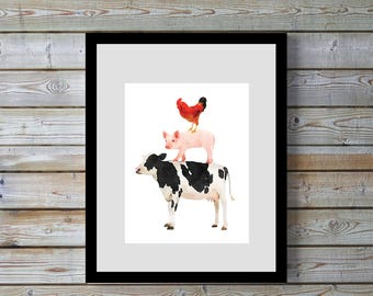 farm animal, farm animals,  printable, wall art, Cow, Pig, Chicken, rooster, Stack,Kitchen, farmhouse.home decor, kitchen decor,digital