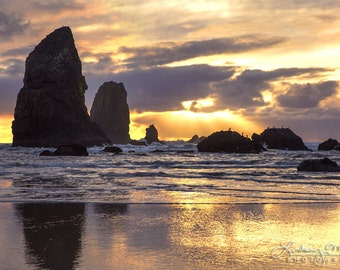 "Cannon Beach Photo | ""Needles Sunset Silhouette"" 