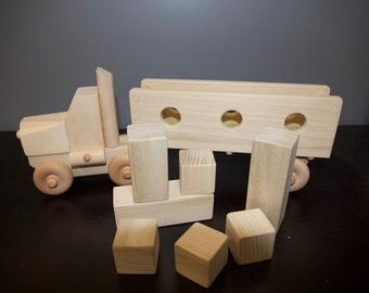 Big Block Truck, handmade truck, wooden truck, play block truck